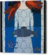 The Girl With Bats And Fish Canvas Print