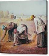 The Gleaners After Millet By My Dad Canvas Print