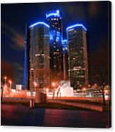 The Gm Renaissance Center At Night From Hart Plaza Detroit Michigan Canvas Print
