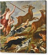 The Goddess Diana And Her Nymphs Hunting Deer Canvas Print
