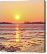 The Golden Hour And Ice Drift Canvas Print