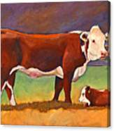 The Good Mom Folk Art Hereford Cow And Calf Canvas Print