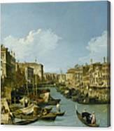 The Grand Canal Near The Rialto Bridge. Venice Canvas Print