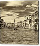 The Grand Canal - Paint Sepia Canvas Print