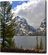 The Grand Tetons And The Lake Canvas Print