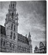 The Grandeur Of The Grand Place Brussels In Black And White  Canvas Print