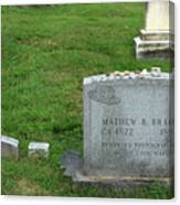 The Grave Of Mathew Brady -- Renowned Photographer Of The American Civil War Canvas Print