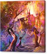The Great Fire Of Woman Canvas Print