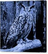 Majestic Great Horned Owl Blue Indigo Canvas Print