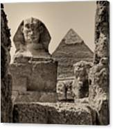 The Great Sphinx And Pyramid Of Khafre Canvas Print