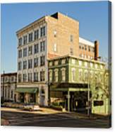 The Green Building On The Corner Canvas Print