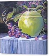 The Green Pot And Grapes Canvas Print