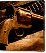 The Gun That Won The West - Sepia Canvas Print