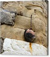 The Hanging Jar - Rough Weathered Stones Rust And Ceramics - A Vertical View Canvas Print