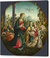 The Holy Family With Angels Canvas Print