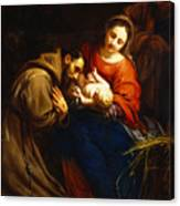 The Holy Family With Saint Francis Canvas Print