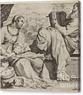 The Holy Family With Saint John The Baptist Canvas Print