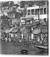 The Holy Ganges - Paint Bw Canvas Print