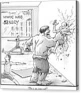 The Hulk Crushes A Man Against A Wall In A Yoga Canvas Print