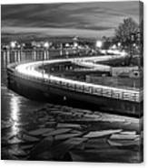The Icy Charles River At Night Boston Ma Cambridge Black And White Canvas Print