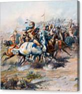 The Indian Encirclement Of General Custer At The Battle Of The Little Big Horn Canvas Print