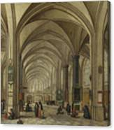 The Interior Of A Gothic Church Looking East   Canvas Print