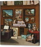The Interior Of A Picture Gallery With Connoisseurs Admiring Paintings Canvas Print