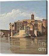 The Island And Bridge Of San Bartolomeo - Rome Canvas Print