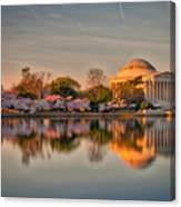 The Jefferson Memorial And Cherry Trees In Bloom Canvas Print