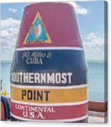 The Key West Florida Buoy Sign Marking The Southernmost Point On Canvas Print