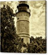 The Key West Lighthouse In Sepia Canvas Print