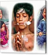 The Kids Of India Triptych Canvas Print