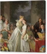 The Kiss Of Protection By The Local Chatelaine  Canvas Print