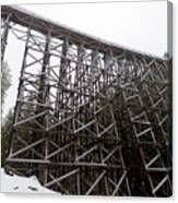 The  Koksilah River Trestle With Snow 1. Canvas Print