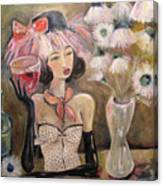 The Lady In The Flower Hat Canvas Print