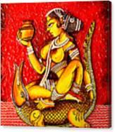 The Lady On Crocodile Canvas Print