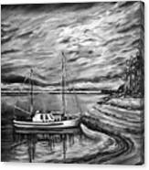 The Last Sunset Before Sailing Black And White Canvas Print