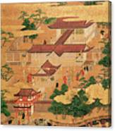 The Life And Pastimes Of The Japanese Court - Tosa School - Edo Period Canvas Print