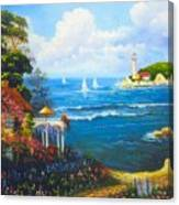 The Light House By The  Sea Canvas Print