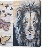 The Lion And The Butterflies Canvas Print