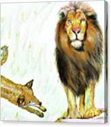 The Lion And The Fox 2 - The True Friendship Canvas Print