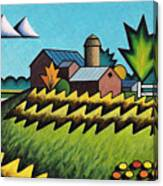 The Little Farm On The Grassy Hill Canvas Print