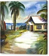 The Little Yellow Beach House Canvas Print