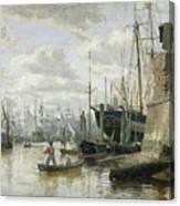 The Log Cabin At Hamburg Harbour Canvas Print