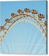 The London Eye Ferris Wheel Against A Cold Blue Winter Sky Canvas Print
