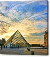 The Louvre At Sunset Canvas Print