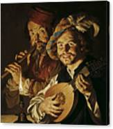 The Lutenist And The Flautist Canvas Print
