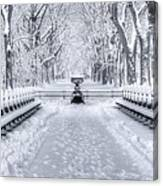 The Mall In Snow Central Park Canvas Print
