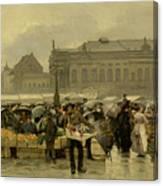 The Market In Antwerp Canvas Print