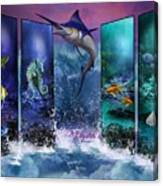 The Marlin And His Sea Friends  Canvas Print